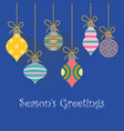 simple christmas greeting with colorful baubles vector image vector image