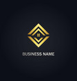square house realty gold logo vector image vector image