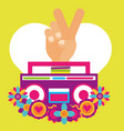 stereo radio hand pece and love flowers hippie vector image vector image