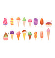 tasty ice cream summer glace dessert cone with vector image