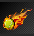 tennis ball with flame on black background vector image vector image