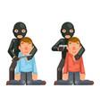 terrorist hostage criminal thief gun knife vector image vector image