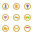theater icons set cartoon style vector image vector image
