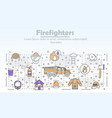 thin line art firefighters poster banner vector image