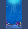 vertical background - blue theme of undersea world vector image