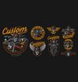 vintage colorful motorcycle emblems set vector image