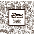 vintage sketches fast food vector image