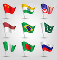 set of nine flags states with biggest population vector image