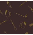 Seamless background with kitchen tools vector image