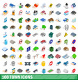 100 town icons set isometric 3d style vector image vector image