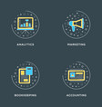 analytics marketing bookkeeping accounting set of vector image