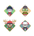 avatars of hipster animals in ugly christmas vector image vector image