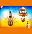 beer ads bottle and wheats on field bokeh vector image