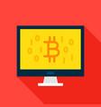 bitcoin computer flat icon vector image vector image