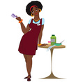 Cartoon black woman hairdresser standing in red vector image vector image