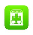 coffee machine icon digital green vector image vector image