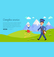 complex service web banner with postman vector image vector image