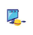 computer monitor with parasol store and hamburger vector image vector image