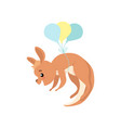 cute baby kangaroo flying with balloons brown