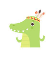 cute crocodile animal wearing indian traditional vector image vector image