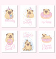 cute funny pug dog is here set rectangle gift vector image vector image