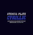 cyrillic italic stencil-plate serif font vector image