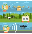 Drone technology concepts with flying robots vector image vector image