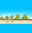 fat obese woman walking with dog urban city park vector image vector image
