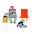 father character traveling with son on summer vector image