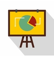 Flip chart with statistics icon flat style vector image