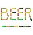 Green Brown Glass Beer Bottles vector image