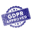 grunge textured gdpr approved stamp seal vector image