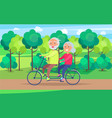 happy mature couple riding together on bike vector image