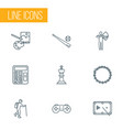 lifestyle icons line style set with painting game vector image