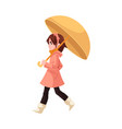little kid girl under umbrella in coat and rubber vector image vector image