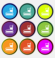 lunch box icon sign Nine multi colored round vector image vector image