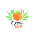 menu vegan logo design element for healthy food vector image