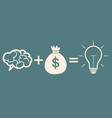 motivation concept brain plus money idea vector image vector image