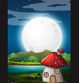 mushroom house at night vector image vector image