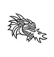mythical dragon breathing fire mascot vector image