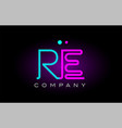 neon lights alphabet re r e letter logo icon vector image vector image