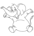outlined cheerful elephant vector image vector image