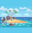 pirate ocean island in cartoon style palm trees vector image vector image