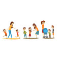 pretty mothers walking with their little kids set vector image vector image