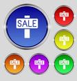 Sale price tag icon sign Round symbol on bright vector image