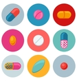Set of various pills and capsules icons vector image