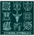 set of viking symbols icons vector image