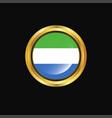 sierra leone flag golden button vector image vector image