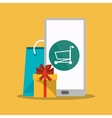 Smartphone and shopping online design vector image