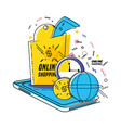 smartphone with shopping online icons pop art vector image vector image
